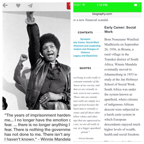 Winnie Mandela was a social work pioneer in her country before she became a fighter against apartheid she was a social worker...social workers are activist, advocates, and much more. Mrs Mandela was the epitome of a grassroots leader. She was a Social Justice major!