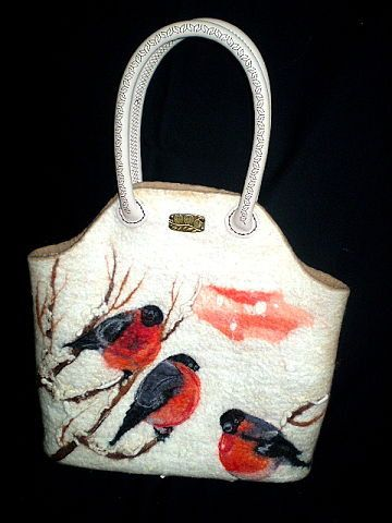 Felted handbag The Bullfinches Cool Winter by AlexandraApratova, $175.00