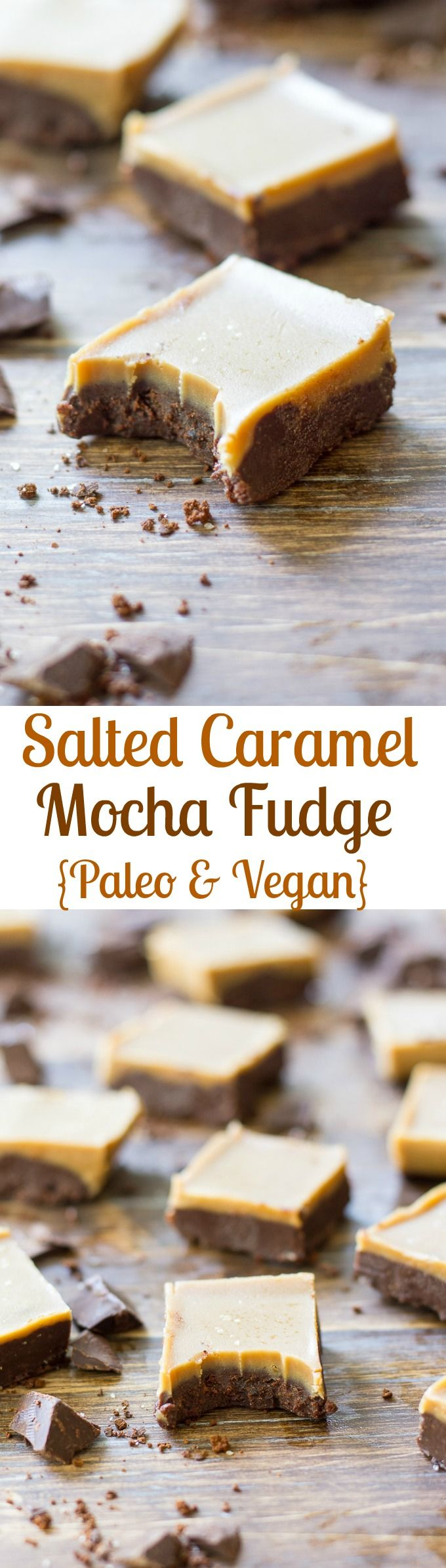 Salted caramel mocha fudge - Paleo & Vegan.  Insanely delicious vegan and Paleo dessert with two layers - mocha and salted caramel.  Rich, creamy, perfectly addicting fudge!