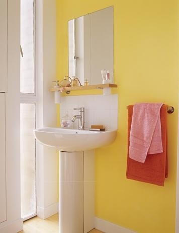 The Awesome Web  Excellent Sunny Yellow Bathroom Design Ideas Excellent Sunny Yellow Bathroom Design Ideas With Yellow White Wall And Washbasin And Red Towel And