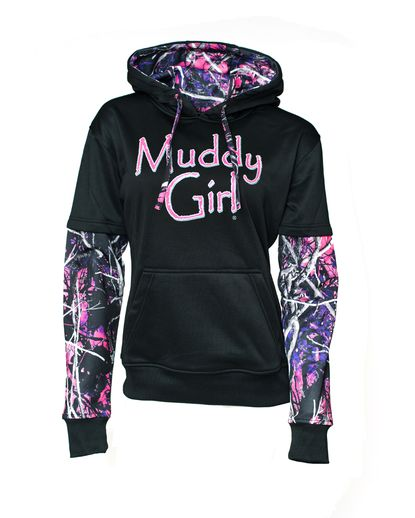 Women's Muddy Girl Camo Hoody - Black