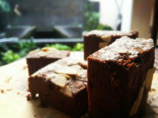 Frosh from the oven. Chewy fudge brownies