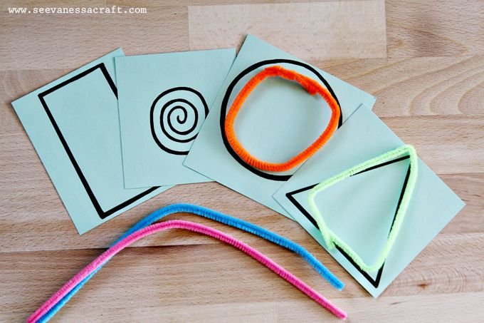 Pipe cleaner shape busy bags