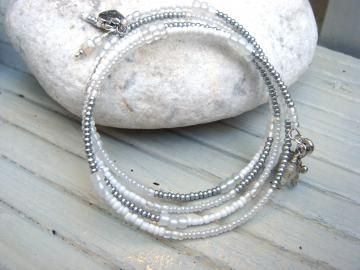 White Wrap Bracelet, Memory Wire, Handmade Bangle Unique by LisaDeluxe for $29.00Wire Handmade, Handmade Bangles, Bracelets Memories, Tibetan Silver, Bangles Unique, Silver Wraps, Beads Wire, Memories Wire, Silver Charms