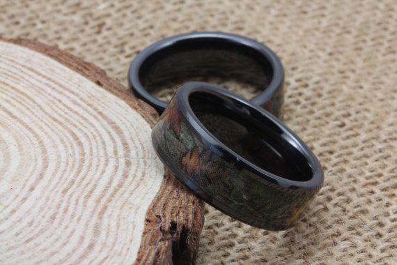 Camo Ring - Black Wedding Band - Leafy Camo Wedding Ring on Etsy, $99.99