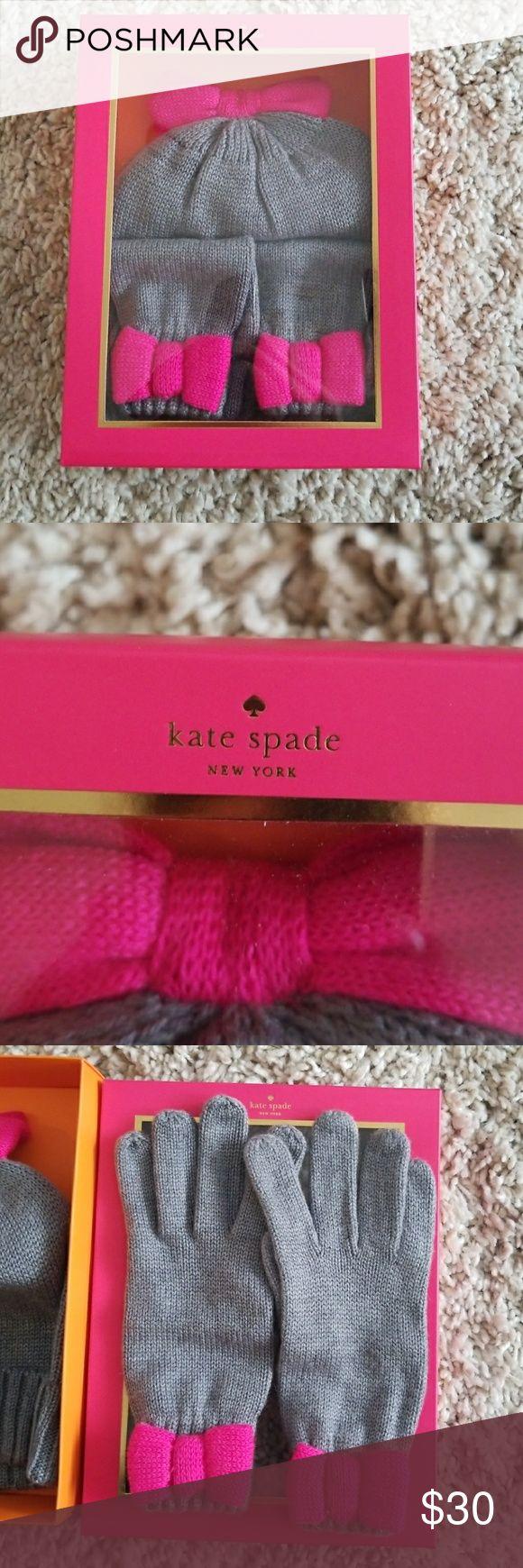 Kate Spade Hat and Mitten Set Girls Brand new gray and pink hat and glove L/XL girls kate spade Accessories Mittens