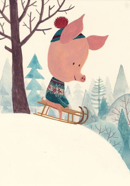 piggy on the sledge, winter illustration, cute Chuck Groenink (NL)