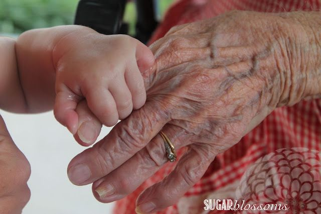 In addition to generation picture have picture of baby, mom grandparent and great-grandparent's hands