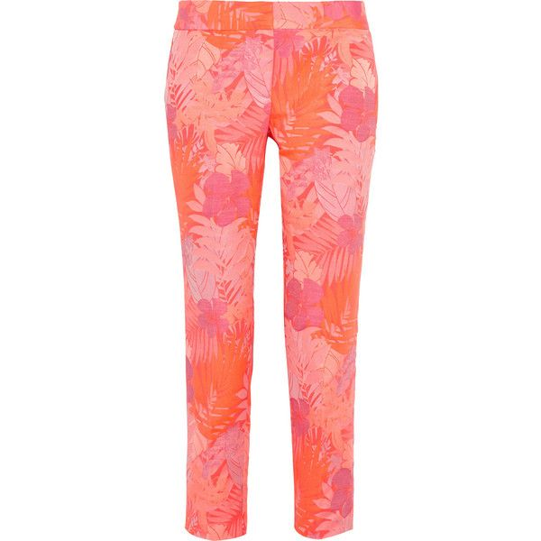 Collection neon floral-jacquard straight-leg pants (€67) ❤ liked on Polyvore featuring pants, j.crew, bottoms, broeken, coral, flower print pants, neon pants, straight leg trousers, j crew pants and floral print trousers