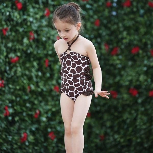 Little Girls Swimwear One Piece Zebra Lace Swimsuits