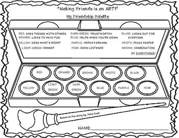 """Worksheet to go along with the book by Julia Cook, """"Making Friends is an Art!"""""""