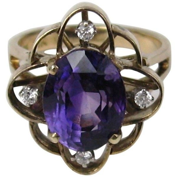 Preowned 1940s Amethyst Diamond Gold Ring ($1,250) ❤ liked on Polyvore featuring jewelry, rings, purple, solitaire rings, gold rings, 14k yellow gold ring, 14k ring, purple diamond ring and purple amethyst ring