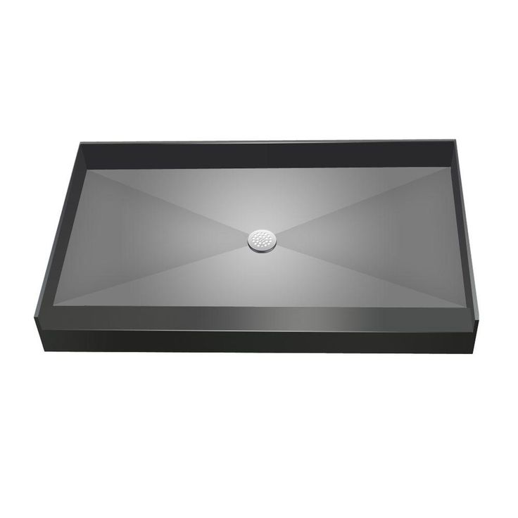 single threshold shower base with center drain gray