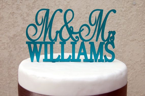 Add a finishing touch to your wedding cake with this gorgeous personalised cake topper, available in 9 lovely shades (although more colours are