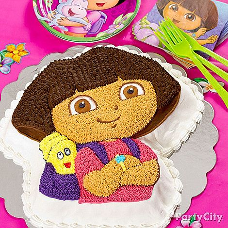 An awesome Dora cake is easy with the official Dora-shaped cake pan! Our Dora party ideas guide links you to the complete how-to & everything you need to make it.