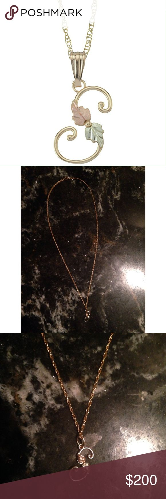 """10K Gold """"S"""" Initial Necklace Brand new - without box or tags / Authentic 10kt Gold chain and """"S"""" initial / Ladies necklace / 18 in. Gold rope chain with spring ring clasp / 12kt Rose & Green Gold leaves / made in USA / authentic black hills gold / 1.4 mm - chain width / polished finish / does not contain lead / pendant length - .65 in. / pendant width - .27 in. / purchased online Black Hills Jewelry Necklaces"""