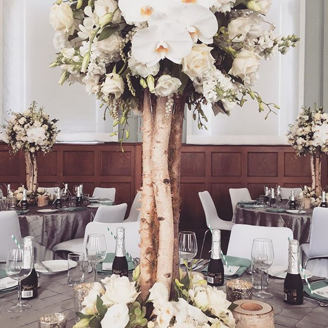 Silver birch centerpieces | Centrepieces | White trees | Weddings at Mansion Hotel and Spa at Werribee Park | Creative direction and wedding styling by One Wedding Wish