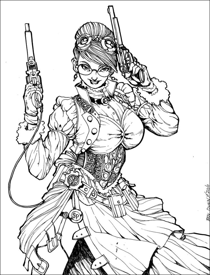victorian steampunk coloring pages - photo#12