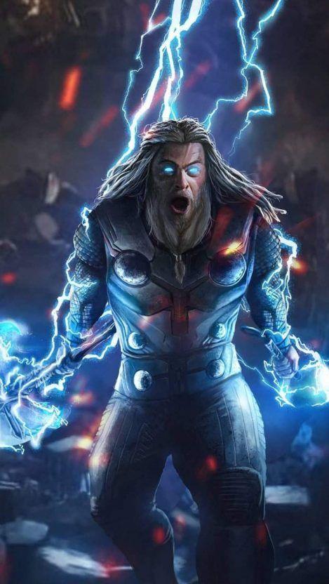 God of Thunder Thor Endgame Fight iPhone Wallpaper
