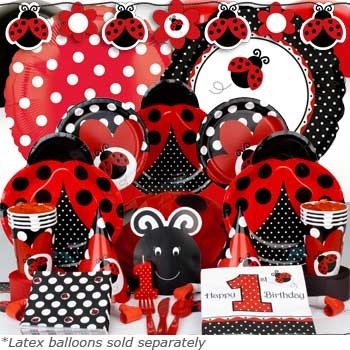 Ladybug 1st Birthday Party Supplies - bright and colorful first birthday celebration for your little lady!