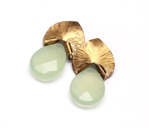 Brass and jade earrings. One of a kind
