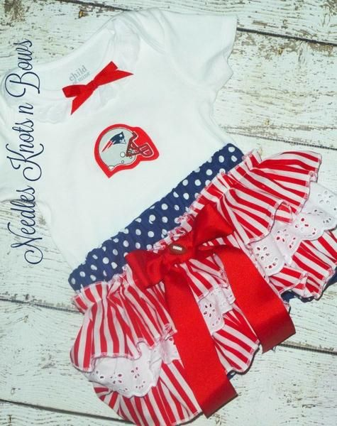 Girls New England Patriots Cheerleader Outfit, Baby Girls Patriots Football Outfit, Baby Shower Gift
