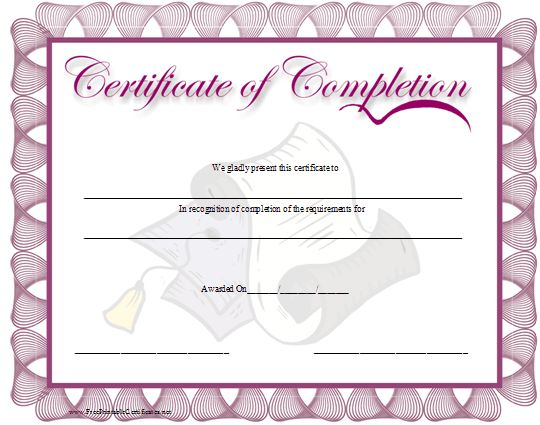 Best 25 certificate of completion template ideas on pinterest a purple bordered certificate of completion with a graduation cap and diploma in the background free certificatesfree certificate templatestemplates yelopaper Image collections