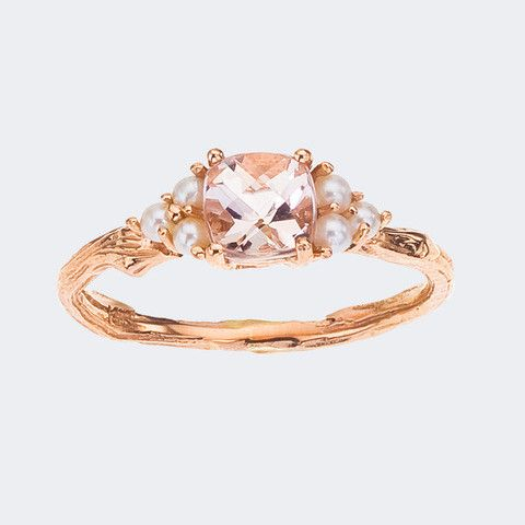 Morganite Gemstone and Pearl Ring ♥ Antique Style - Cushion Cut with Rose Gold - Pretty in Pink ♥ So unique and pretty!