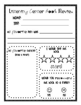 Sheet for students to reflect on listening center books.  Great way to check for understanding.  Students can independently complete these during c...