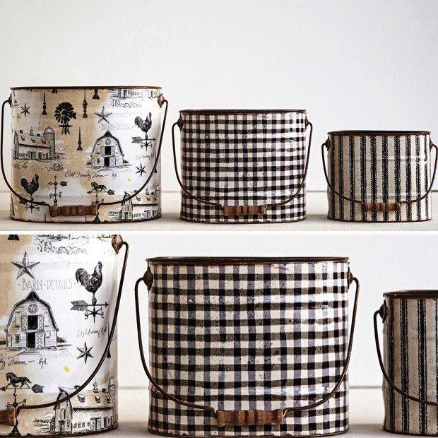 Vintage Style Tin Buckets, Set of 3