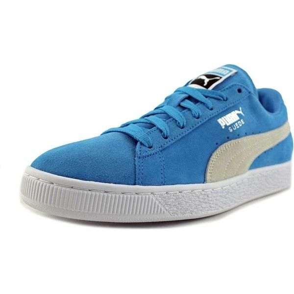 Puma Suede Classic + Men Round Toe Suede Blue Sneakers ($54) ❤ liked on Polyvore featuring men's fashion, men's shoes, men's sneakers, blue, shoes, mens shoes, mens sneakers, mens suede sneakers, mens round toe shoes and mens navy blue sneakers