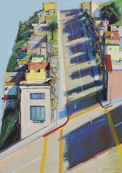 "1975 ? ""Ripley Street Ridge"" Wayne Thiebaud. It sells for $1,022,500.  Lijkt sterk op Diebenkorns CityScape1."