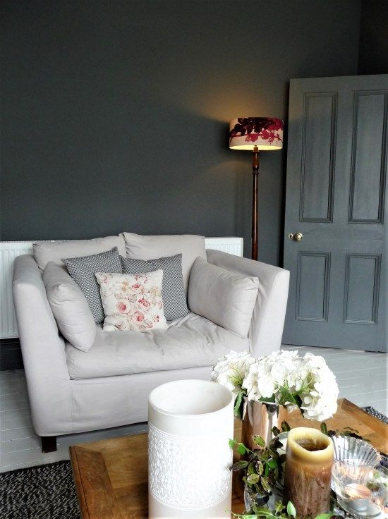 Grey lounge, decorating with dark colours. Visit blog for all the details.