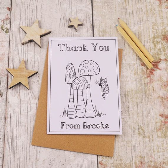 Toadstool Colouring in Thank You Card Children's by MakeWithMum