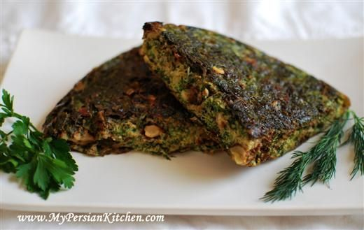 Kuku Sabzi5 eggs  1 cup fresh parsley, packed  1 cup fresh cilantro, packed  1 cup dill, packed  1 cup chopped chives or tareh  1/3 cup walnuts  1-2 tbsp zereshk (barberries), washed and drained  1 tsp baking powder