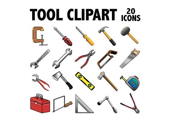 Tools Clipart Printable Construction Equipment Icons Etsy In 2020 Woodworking Tools For Sale Tools Clip Art