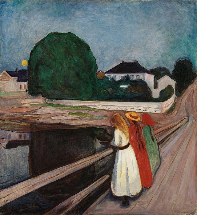 dvard Munch, Ragazze sul ponte, 1902 circa. Olio su tela, 83×73 cm. Museo Puškin, Mosca