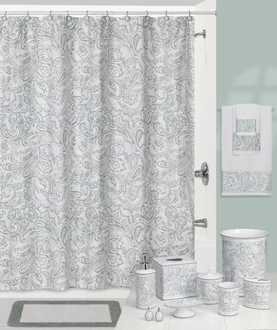 Overscaled Cool Teal and White Paisley Bathroom Collection