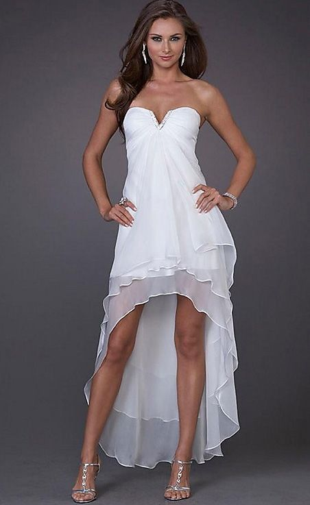Semi Strapless Summer Wedding Dress.......I totally want a long in the back and short in the front ..... super pretty