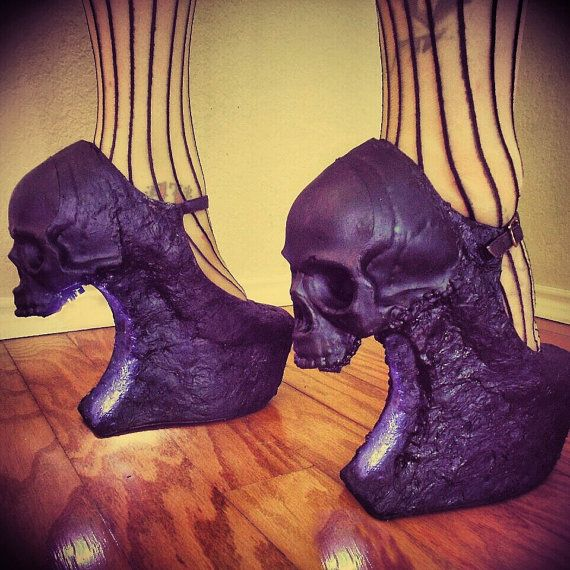 Hey, I found this really awesome Etsy listing at https://www.etsy.com/listing/187294915/curved-purgatory-skull-heelless-wedges
