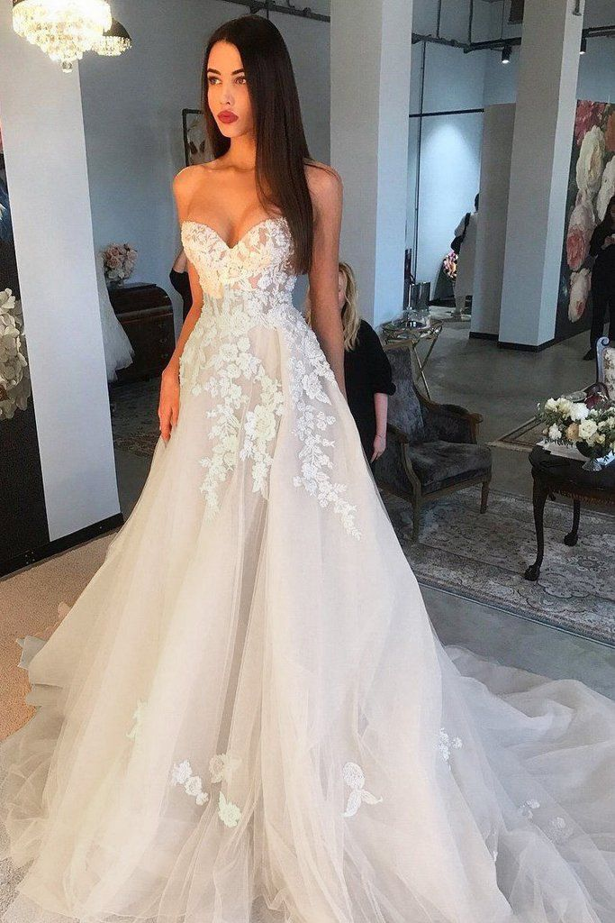 f3c916a9c2 Elegant A Line Sweetheart Tulle Lace Applique Ivory Wedding Dress ...