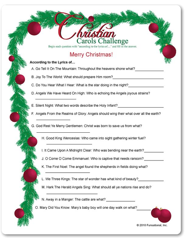 Printable Christian Carols Challenge Funsational Com