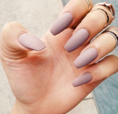 Matte Purple Grey Acrylic Square Nails