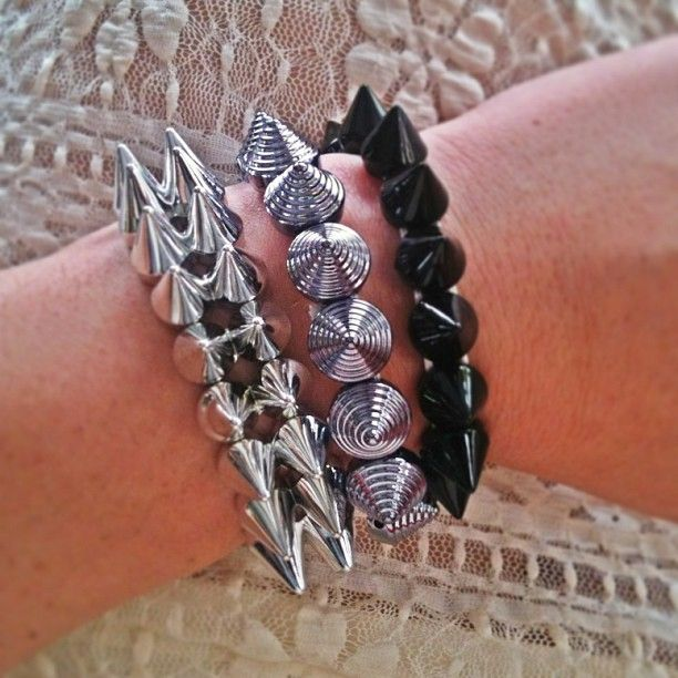 Sugar Sugar metallic spikes bracelet. Love it with lace!