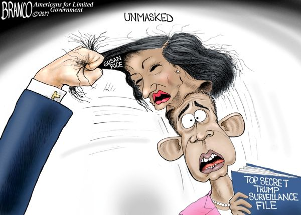 President Trump is fully vindicated now that it's been revealed Susan Rice, of the Obama administration, unmasked aids during surveillance. Cartoon by A.F. Branco ©2017.