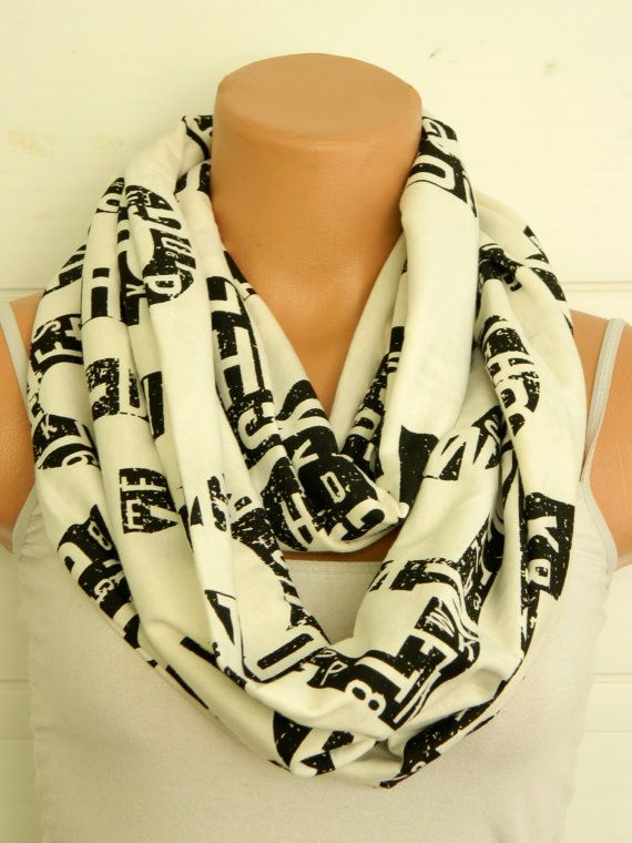 Black and white scarveswritten Infinity by WomensScarvesTrend, $22.00