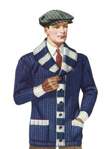 1920s Mens Sweaters came in a variety of styles to go with each weight. The heavy Shaker shawl collar sweater with thick waistband and cuff ribbing was a favorite throughout the decade. College men adopted it wearing college colors and letters on the front pockets.  http://www.vintagedancer.com/1920s/1920s-mens-sweaters/