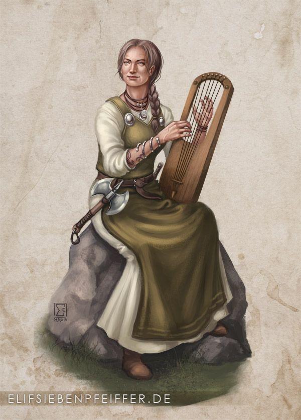 Frau mit Zopf und Axt spielt Harfe, Bild von Elif Siebenpfeiffer