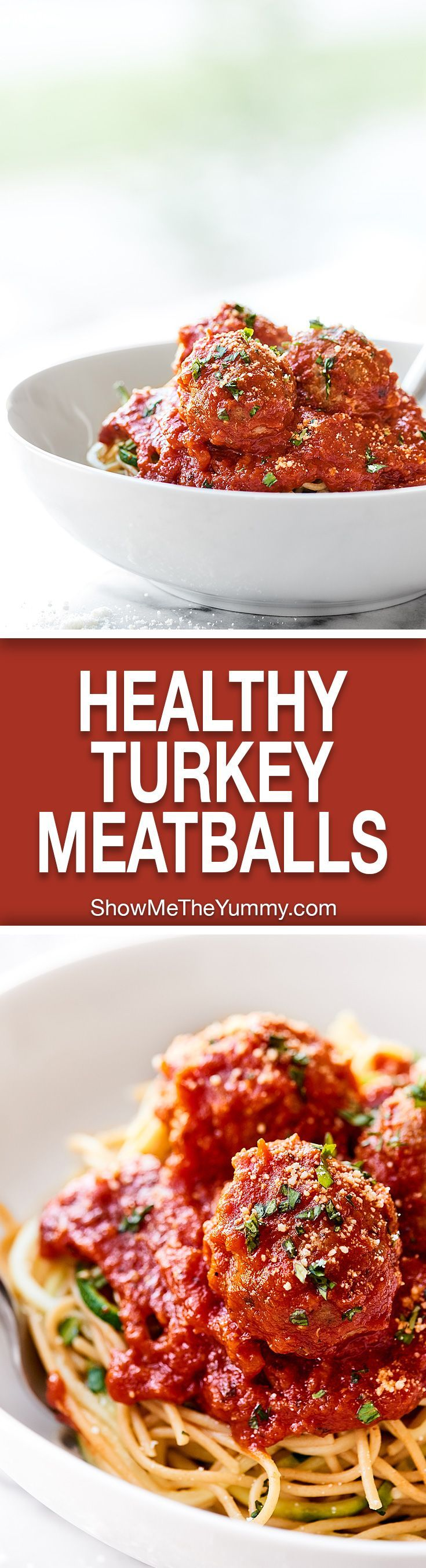 At only 60 calories, these Turkey Meatballs are the perfect, healthy, easy, weeknight meal. These are made without breadcrumbs, are gluten free, and are so juicy! http://showmetheyummy.com #glutenfree #turkeymeatballs