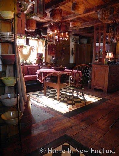 country baskets and floor cloth rustikale esszimmerprimitive - Rustikale Primitive Kchen